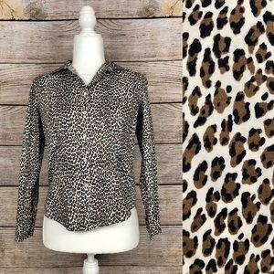 Talbots Petite Leopard Print Button-Up Dress Shirt